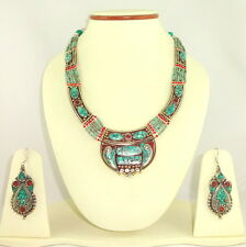 925 SILVER OVERLAY NATURAL TIBETAIN TURQUOISE CORAL GEMSTONE NECKLACE & EARINGS