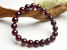 10 mm Natural Wine Red Garnet Crystal Round Stretch Beads Bracelet AAA