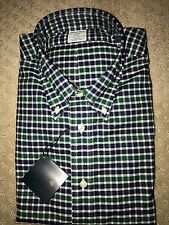 New Brooks Brothers Blue Green Checkered Plaid Regent Non-Iron Shirt Large