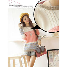 New Women Cute Knitted Pullover Tops Loose Round Collar Bottoming Sweater