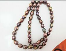 "18""7x10MM natural tahitian genuine black peacock CHOCOLATE pearl necklace AAA+"