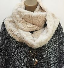 New Cream Soft Rose Embossed faux fur double wrap snood infinity scarf