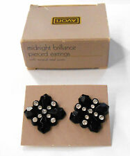 AVON MIDNIGHT BRILLIANCE PIERCED EARRINGS SURGICAL STEEL POSTS NOS WITH BOX 1987