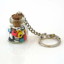 liquorice allsorts keyring in a glass sweet jar retro