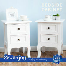 Nightstand Set 2 Bedside End Table Pair Shabby Chick Bedroom Furniture White