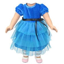 Blue Clothes Dress For 18 Inch American Girl Doll Handmade Set Kids Gift