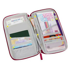 B3 Red Travel Wallet Document Organizer Passport Ticket Holder Closure Zip