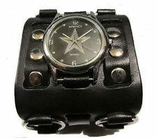 new! BLaCK-STAR WATCH BLaCK LEAtHER O-RiNG WiDE CUFF Nemesis pUNK ROCK