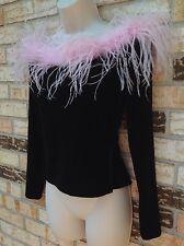 CACHET  Black Velvet Velour Off Shoulder SWEATER Sz S Ostrich Feather Trim