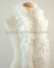 "45g 52"" long White w/ Silver Tinsels chandelle feather boa diva night, Wedding"
