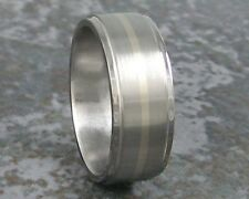 Titanium White Gold Inlay Mens Wedding Band Custom Made Ring to ANY Sizing 3-22