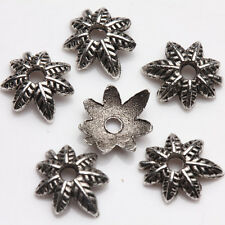 50Pcs Tibet Silver Plated Leaf Spacer Bead Caps Jewelry Findings DIY 8x2mm