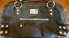 NWOT LINEA PELLE DYLAN CROC EMBOSSED GREEN LEATHER SATCHEL HANDBAG LARGE
