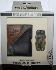 Free Authority Brown/Camo Print Bifold Wallet & Multi-Tool Set **