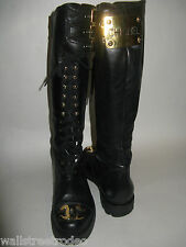 Chanel vintage 80s combat motorcycle knee high holy grail boots 36.5
