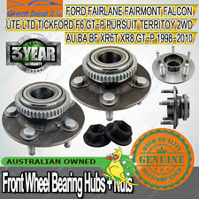 Front Wheel Bearing Hubs+Nuts Ford Falcon Fairmont Fairlane AU BA BF Territory