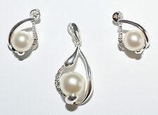 Silber 925 Silberschmuck Set mit Perlen und Zirkonia  - Günstig beim Hersteller