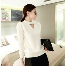 Korean Women's Fashion 2-Way Mohair Pullover Sweater Kit Top Long Sleeve Beige