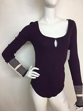 Free People New Woman Purple S Mod Stripe Cuff Thermal Knit Top T-shirt Tee NWT