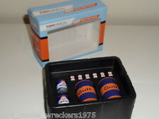 1/18 TSM GULF OIL PACK OIL DRUM MOTOR OIL CANS 10PCS + MODIFIED GARAGE DIORAMA