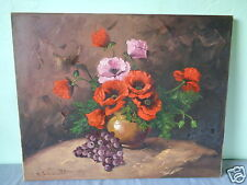 VINTAGE SIGNED MYSTERY ARTIST STILL LIFE FLORAL FLOWER GRAPE  PAINTING ON CANVAS