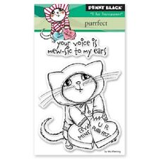 PENNY BLACK RUBBER STAMPS CLEAR PURRFECT CAT VALENTINE NEW STAMP