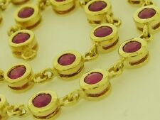 Solid 9ct Yellow Gold NATURAL Ruby Line / Tennis Bracelet Elegant 18.5cm
