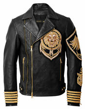 BNWT BALMAIN x H&M Black Gold Metal Embroidered Lion Leather Jacket EU 46 US 36R