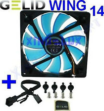 VENTOLA x CASE PC 140mm GELID WING 14 BLU FAN 140 x 25 UV BLUE 14cm 1200rpm 12V!