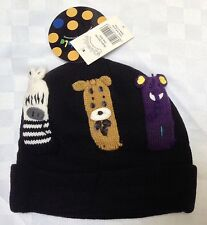 New Kidorable Boy's or Girl's Noah's Ark Beanie Hat Black One Size BNWT