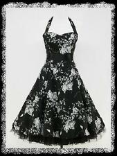 dress190 CHIFFON BLACK HALTERNECK FLORAL 50s ROCKABILLY SWING VINTAGE DRESS 14