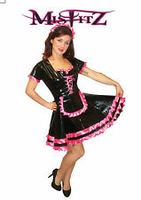 Misfitz blk pvc/hot pink satin sissy maids dress sizes 8-32/made to measure/TV