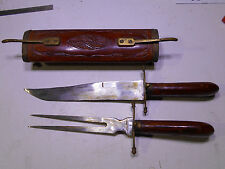 Vintage Knife & Fork Carving Set from India  Wood & Brass  Beautiful Carved Case