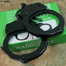Professional Double Lock Black Chained Police Handcuffs w/Keys Real 15912