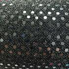 SILVER on BLACK 3mm Sequin fabric shiny sparkly material sold metre fancy dress