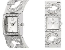 NEW GUESS W89013L1 Silver Tone Stainless Crystal Bezal Women Bracelet Watch
