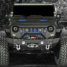 07-16 Jeep Wrangler JK Stylish Front Bumper+Rivet+OE Fog Light Hole+Winch Plate