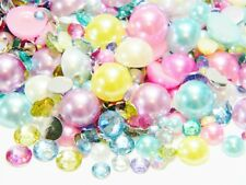 1000 Assorted Sizes Colors Flatback Resin Rhinestones Faux Pearls Kawaii Decoden
