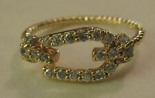 Ring Size 6 Gold Filled Rhinestone Buckle Twisted Braid Shiny Unique NWT #2