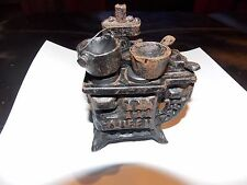Queen Cast Iron Stove Pots Pans Dollhouse Minature Antique NICE