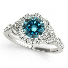 1 Carat Blue Diamond Solitaire Engagement Ring Stylish 14k White Gold Best Deal