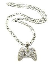 """NEW ICED OUT GAME CONTROLLER PENDANT &24"""" FIGARO CHAIN HIP HOP NECKLACE - MSP379"""