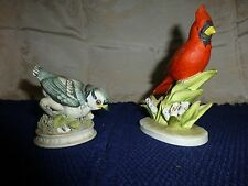 Vintage Porcelain Bird Figurines Lefton China Blue Jay Cardinal Hand Painted Lot