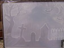 HALLOWEEN CEMETARY GRAVES SPOOKY TREE BATS  EMBOSSING FOLDER  +Bonus die cuts