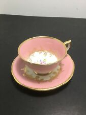 Aynsley Tea Cup And Saucer Hand painted Rose Pink And gold