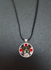 """Staffordshire Bull Terrier Union Jack Pendant On a 18"""" Black Cord Necklace N338"""