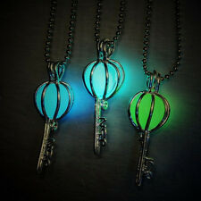 Glowing In The Dark Charm Magic Key Pendant Silver Chain Women Necklace Gifts