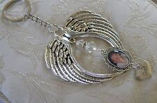 Memorial Angel Wing, Swarovski Crystal, Dad Bag Charm/Keyring/Keychain