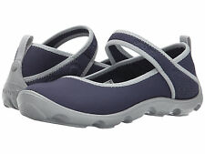 NI P NWT Crocs Kids Duet Busy Day Mary Jane navy Blue Grey Size 2 youth Girls