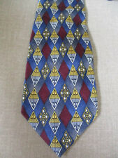 Today's Man Brand NECK TIE- Colorful Diamond Shaped Patterns on Blues
